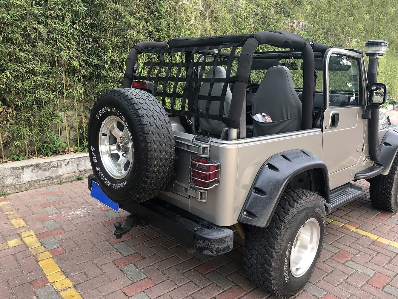 Sukemichi Jeep Wrangler Cargo Net,Fabric Roof Net for Jeep TJ JK JL Sahara Rubicon 1997-2018