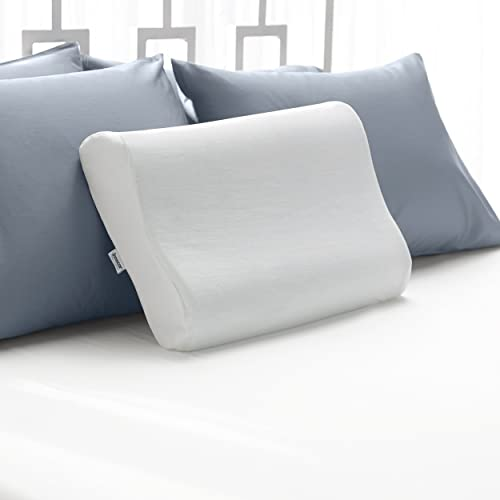 Sleep Innovations Cool Contour Memory Foam Pillow with Soft Microfiber Cover, Made in the USA with a 5-year Warranty - Standard Size