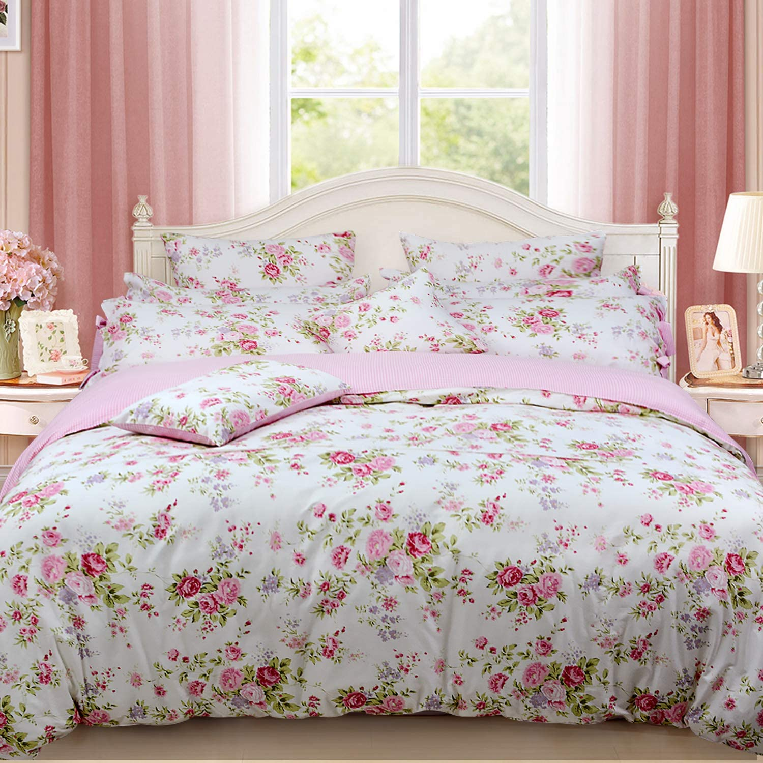 FADFAY Shabby Rose Floral Duvet Cover Pink Plaid Girls Bedding Set100% Cotton Hypoallergenic Bed Sheet Set,5Pcs (1 Duvet Cover +1 Fitted Sheet+ 1 Flat Sheet +2 Standard Pillowcases), Full Size