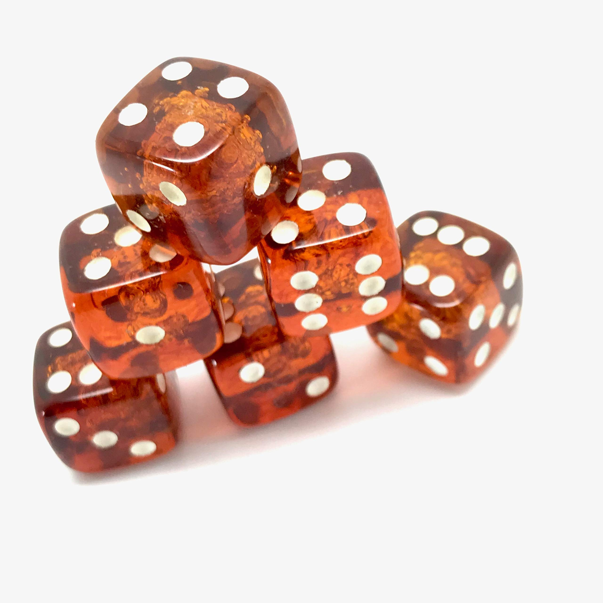 x6 Proper size Amber Dice set for Board games and Gambling by Generic (Image #2)