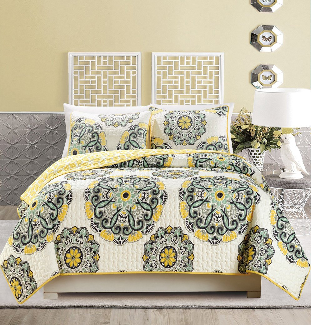 Reversible Bedspread Coverlet FULL / QUEEN SIZE Bed Cover (Black, Off-White, Yellow, Grey