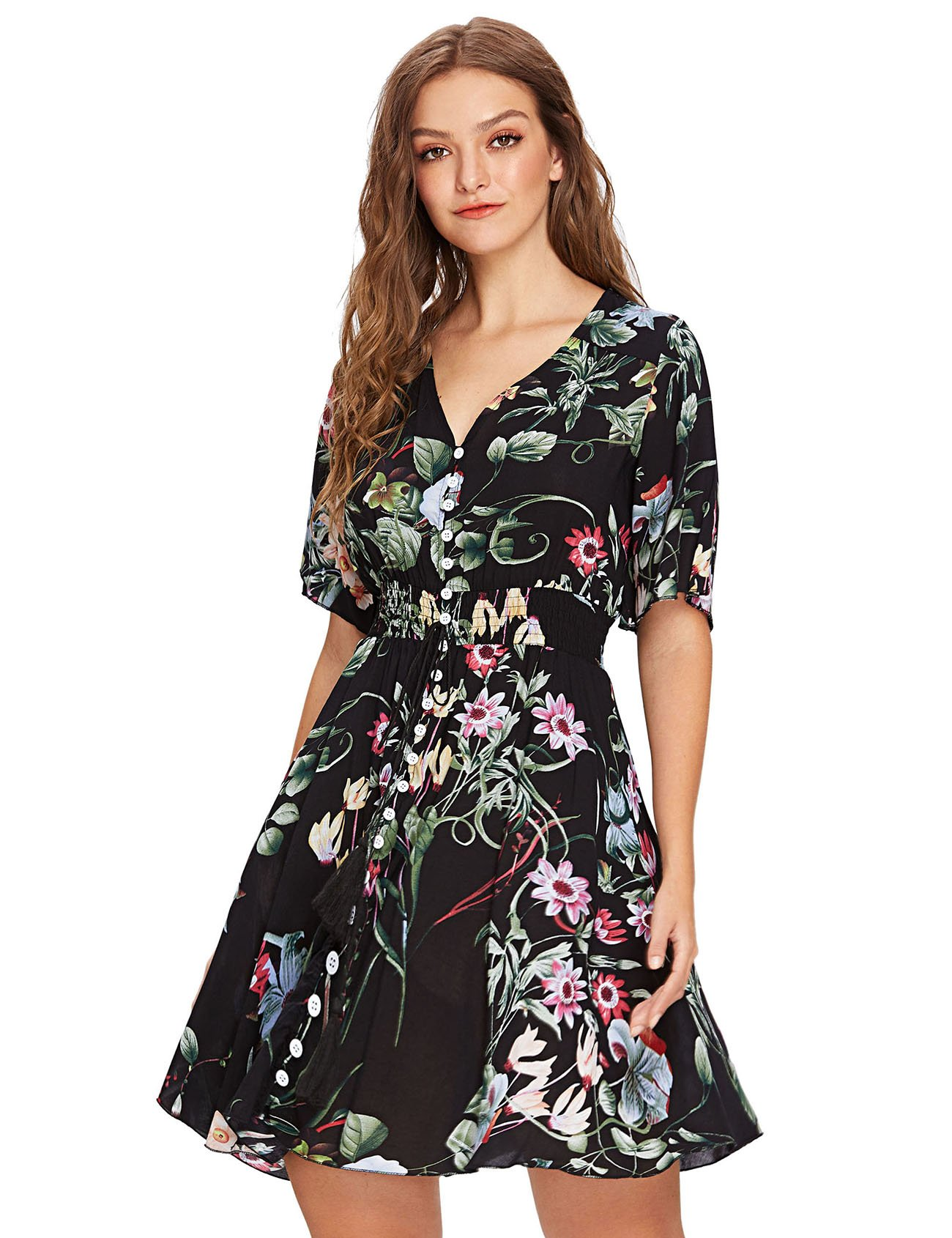 337c1ec1b8 Galleon - Milumia Women's Boho Button Up Split Floral Print Flowy Party  Dress Multicolor-Black-2 X-Large
