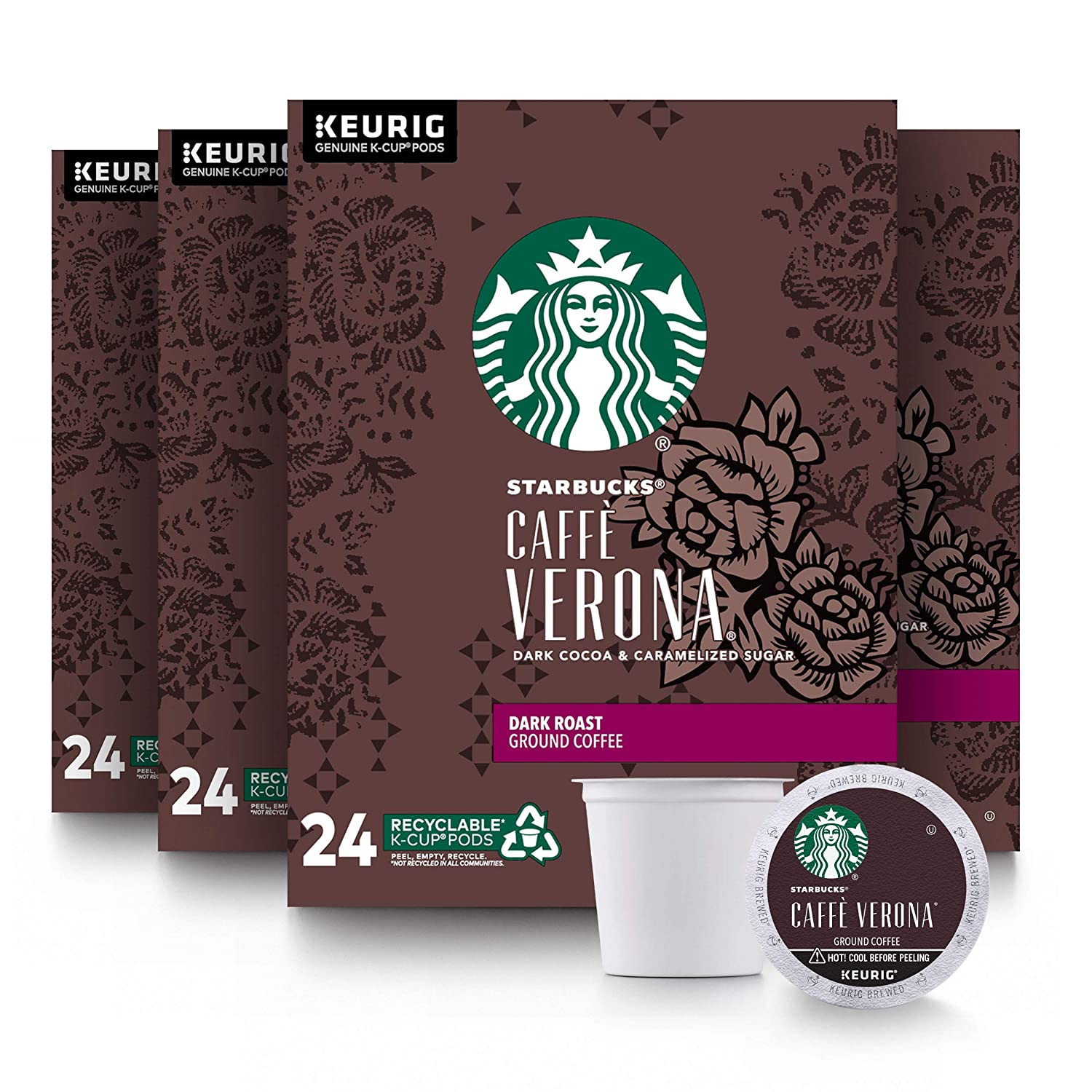 Starbucks Dark Roast K-Cup Coffee Pods — Caffè Verona for Keurig Brewers — 4 boxes (96 pods total)