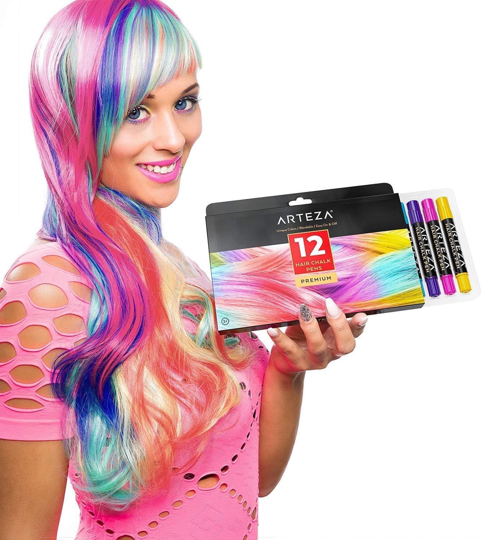 Arteza Tinte temporal de tiza para el pelo   12 colores de tinte lavable para el cabello   Mechas temporales de colores vivos   Ideal para niñas, ...