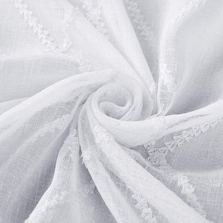 Deconovo Visillo Sa Lino Efecto para Ventana Dormitorio Cortina Transl/úsida para Salones 2 Piezas 140 x 180 cm Blanco Cuadros