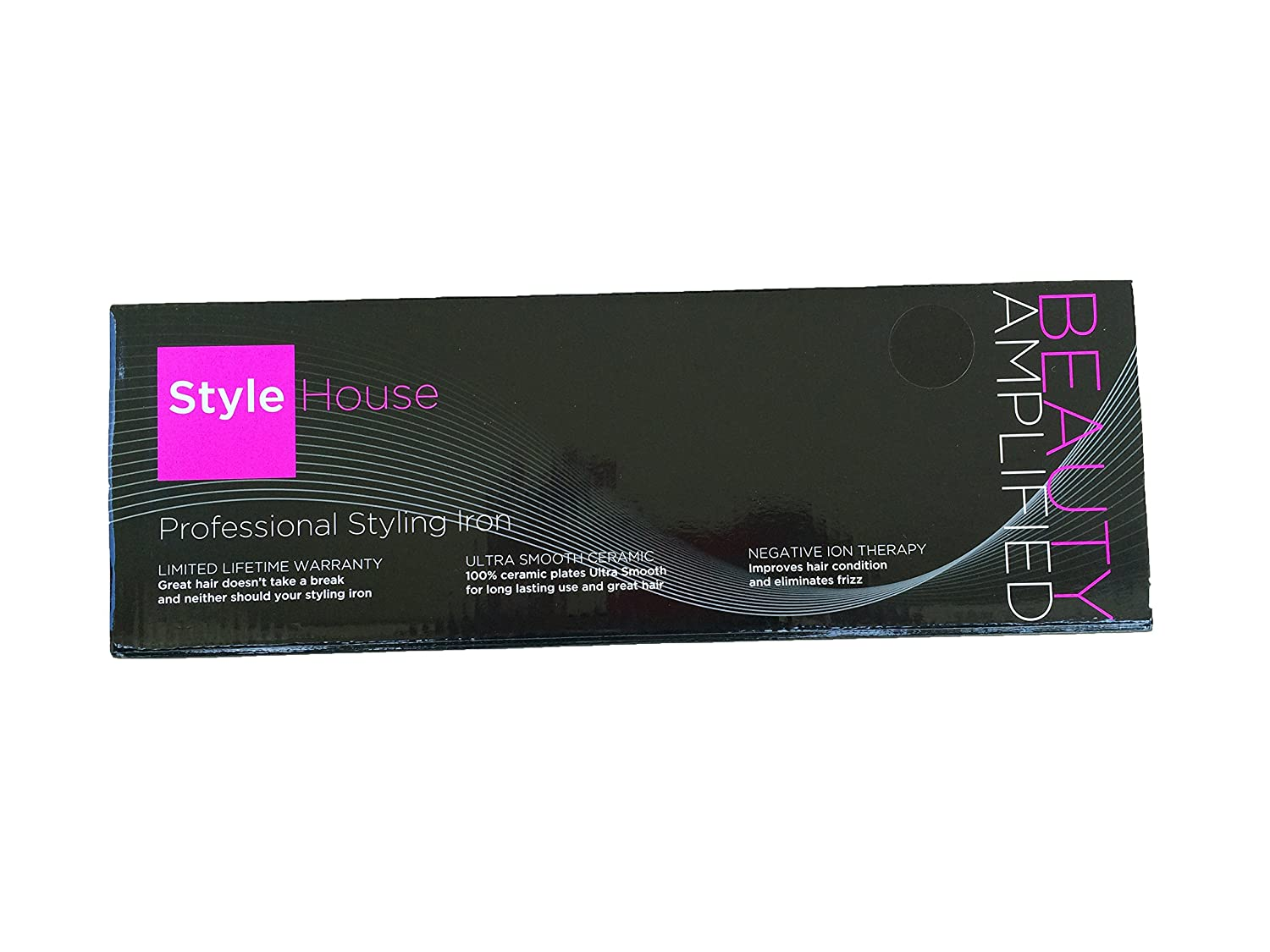 Style House 1645618 Professional Styling Iron Black Hair Straightener Curler