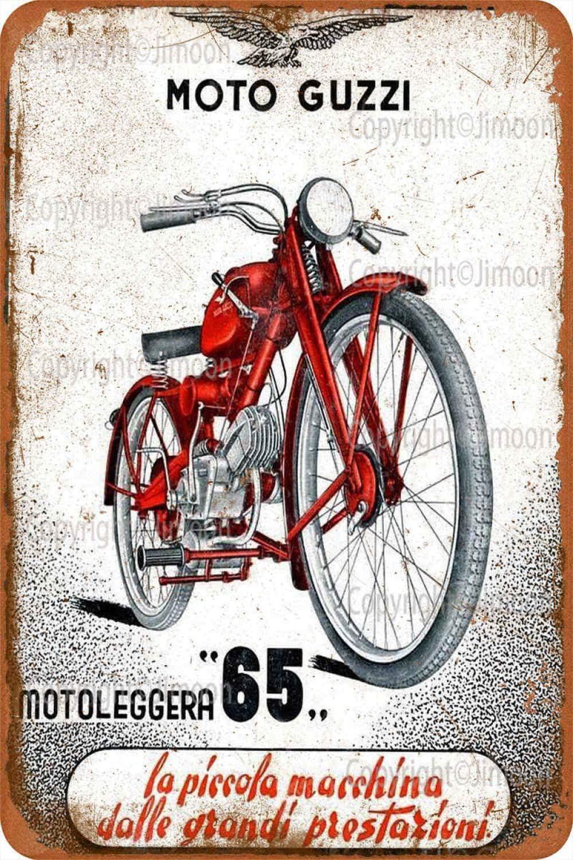 Moto Guzzi Vintage Tin Sign Art Iron Painting Rusty Poster Decorazione Targa in Alluminio per Hotel Cafe Scuola Ufficio Garage