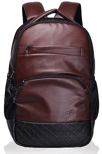 7. F Gear Luxur Brown Laptop Bag