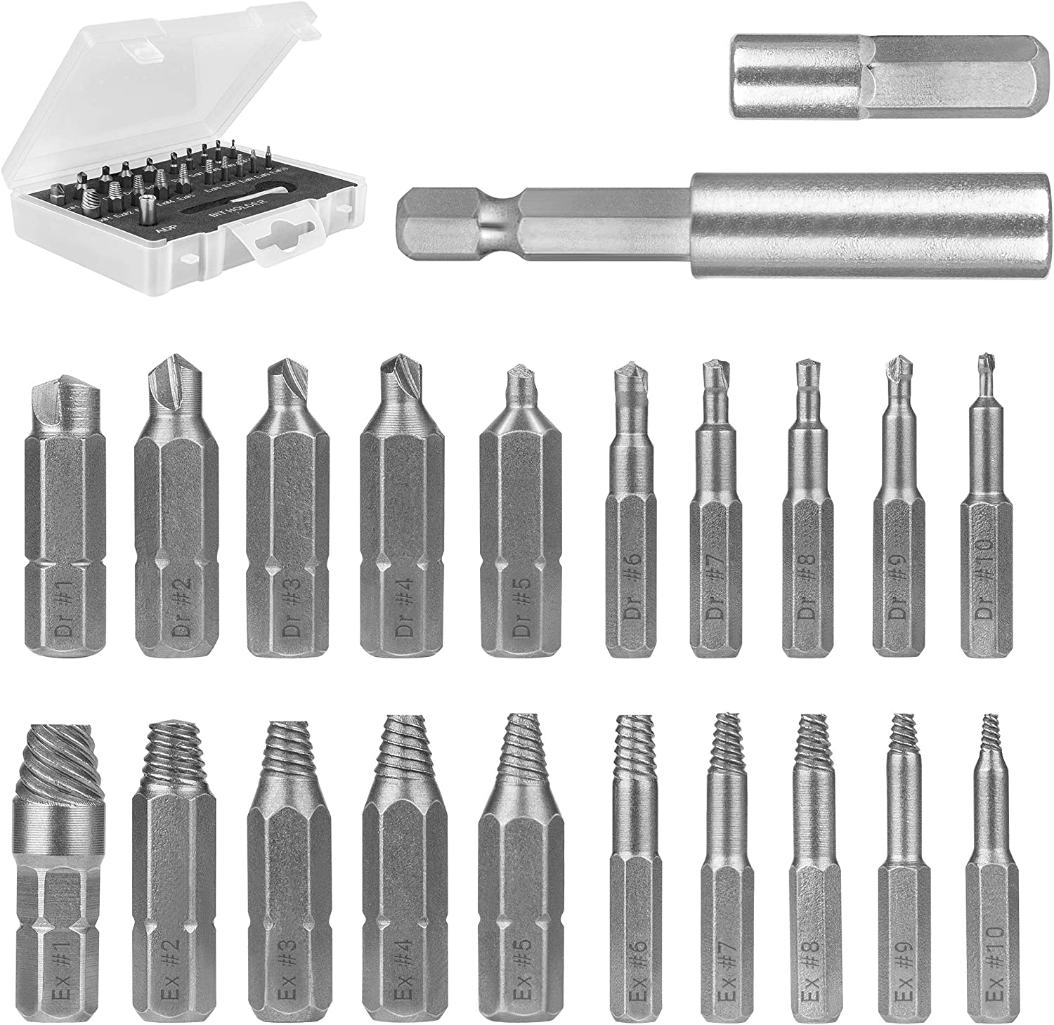 SharCreatives 22 Pieces Screw Extractor Set with Socket Adapter and Magnetic Extension Drill Bit Holder for removing Damaged Screws and Broken Bolts