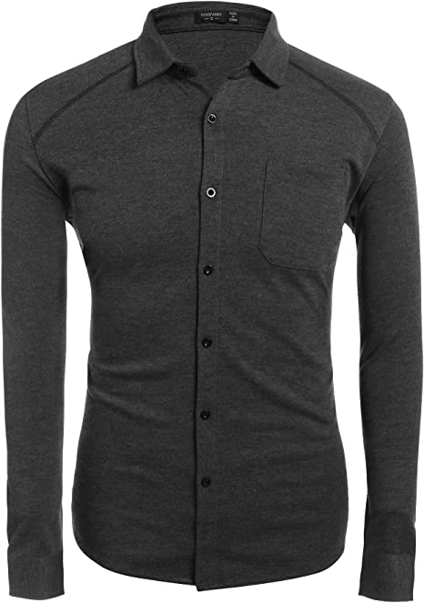 Mens Slim Fit Black High Stand Collar 3 Button Down Dress Shirt Size US S-XXL
