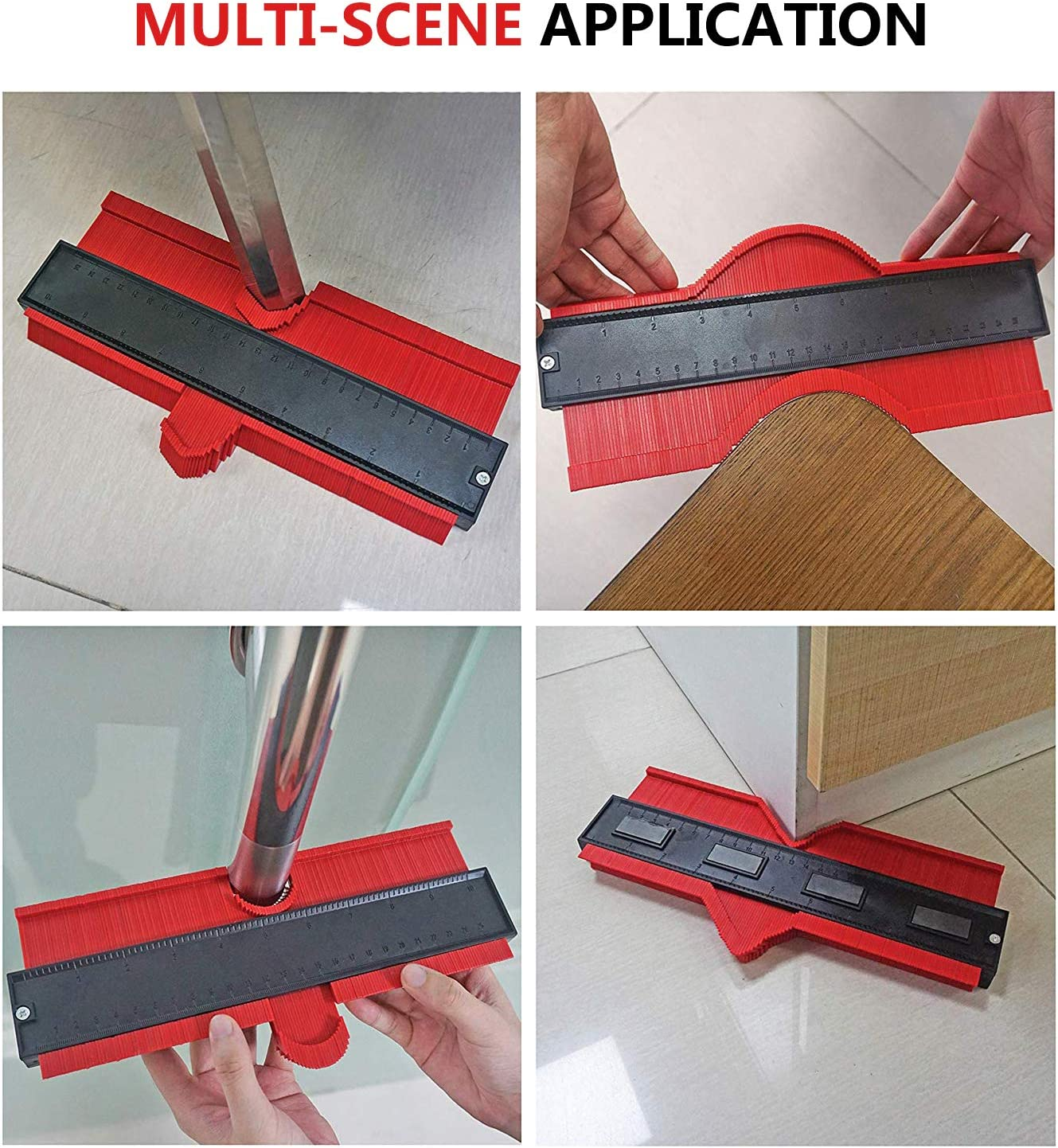 VALMIRI Contour Gauge Duplicator Shape Duplicator Precisely Copy Irregular Shapes,Perfect Fit and Easy Cutting Woodworking Tool 10in and RED