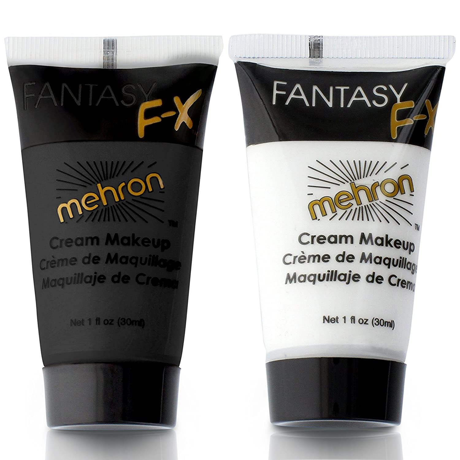 Mehron Water Based Face & Body Paint Black and White Face Paint