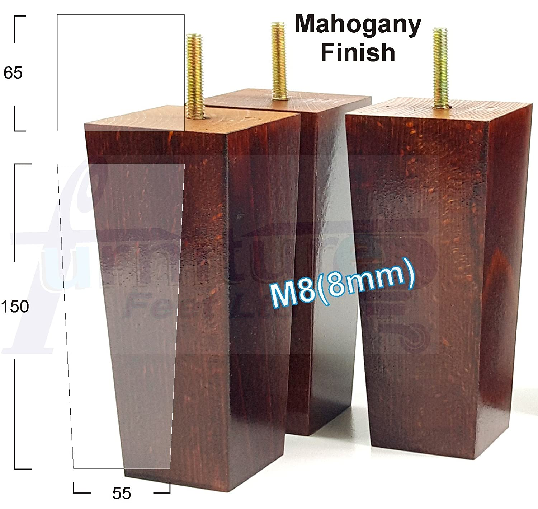 tabourets M8 8 mm chaises 4x en bois noir BUN pieds meubles en bois jambes pour canapé