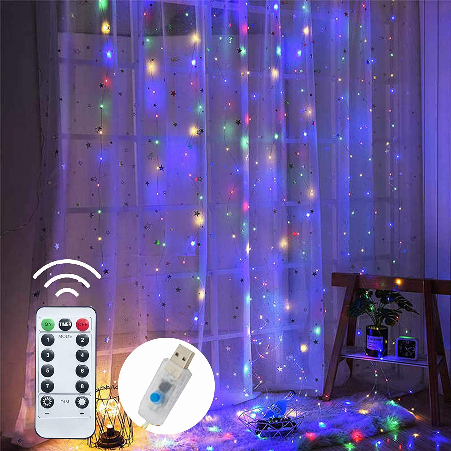 Dazzle Bright Window Curtain String Lights, 300 LED 9.8ft x 9.8ft Multicolor Fairy Lights with 8 Lighting Modes, Waterproof Lights for Bedroom Party Wedding Home Garden Wall Decor