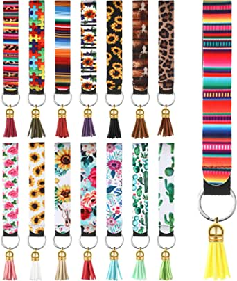 15 Pieces Neoprene Wristlet Keychain Printed Hand Wrist Lanyard Keychain Holder with 15 Pieces Colorful Tassel Pendants for Women