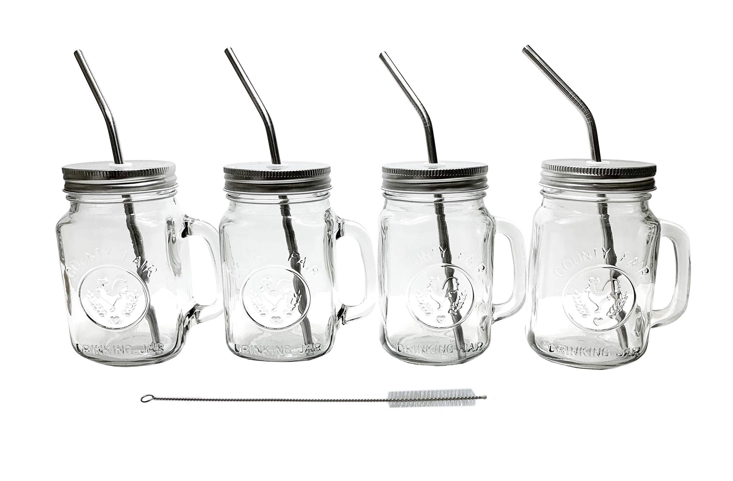 Mason Jar Mugs with Glass Handles and Metal Straws, Brimley 16oz Drinking Glasses Set of 4 by Brimley