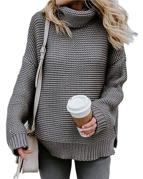 3b6c9ffe49 Jeazi Womens Turtleneck Long Sleeve Oversized Rib Knitted Long Sleeve Warm Sweater  Loose Cozy Pullover Gray