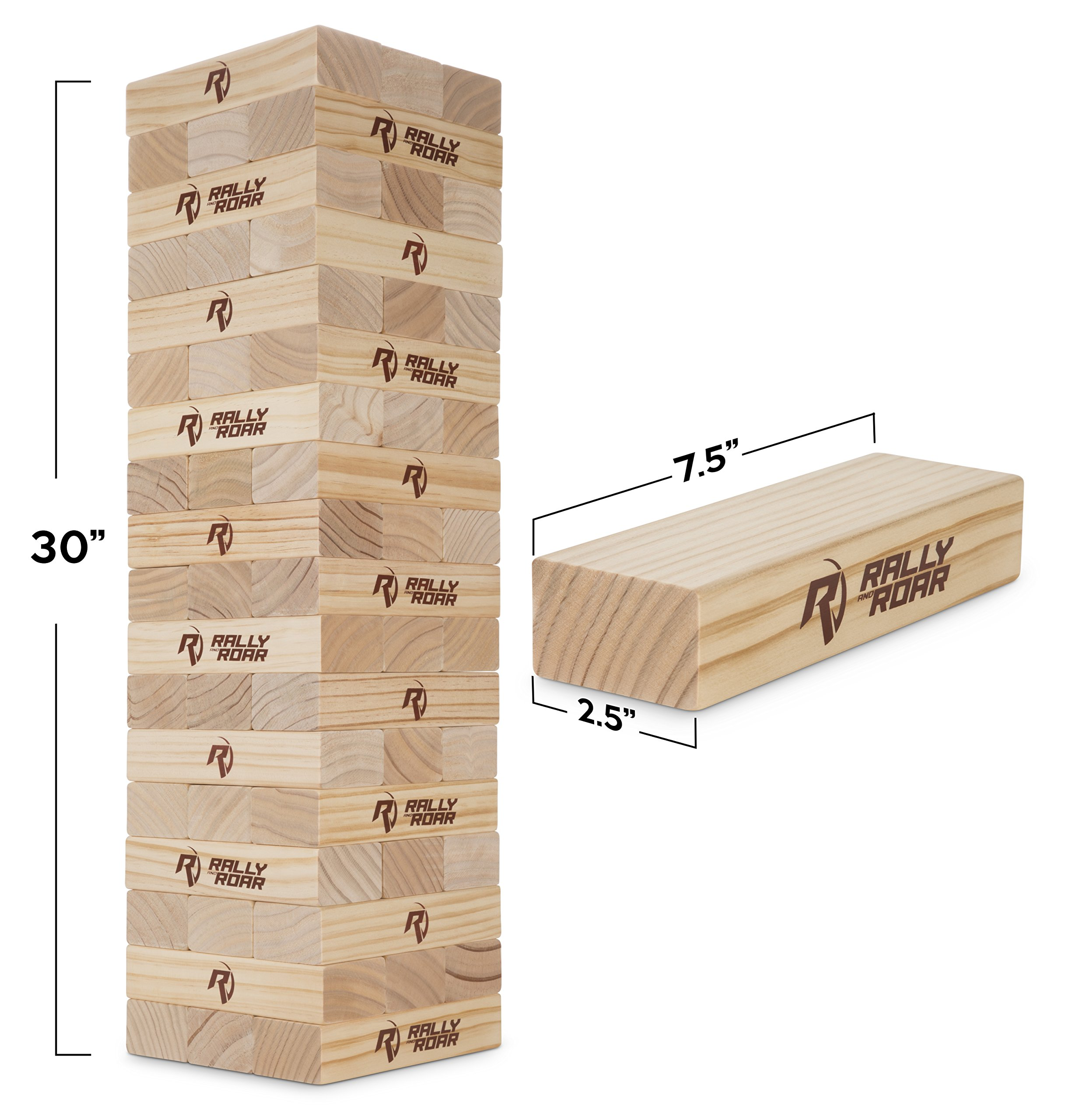 Rally and Roar Toppling Tower Giant Tumbling Timbers Game 2.5 feet Tall (Build to Over 5 feet)– Classic Wood Version - for Adults, Kids, Family – Stacking Blocks Set w/Canvas Bag by Rally and Roar (Image #4)