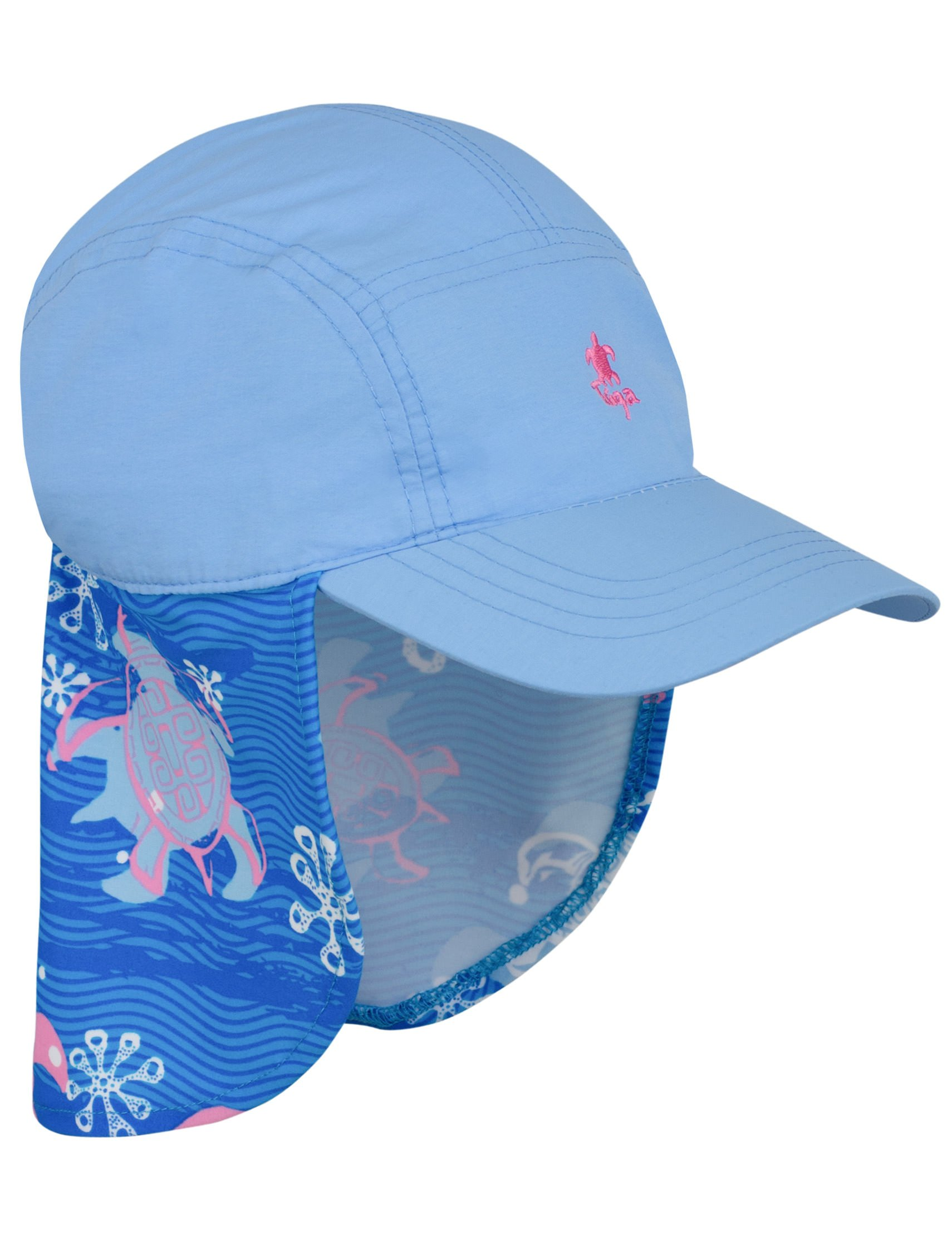 Tuga Girls Flap Hat (UPF 50+), Pink Wave, Medium