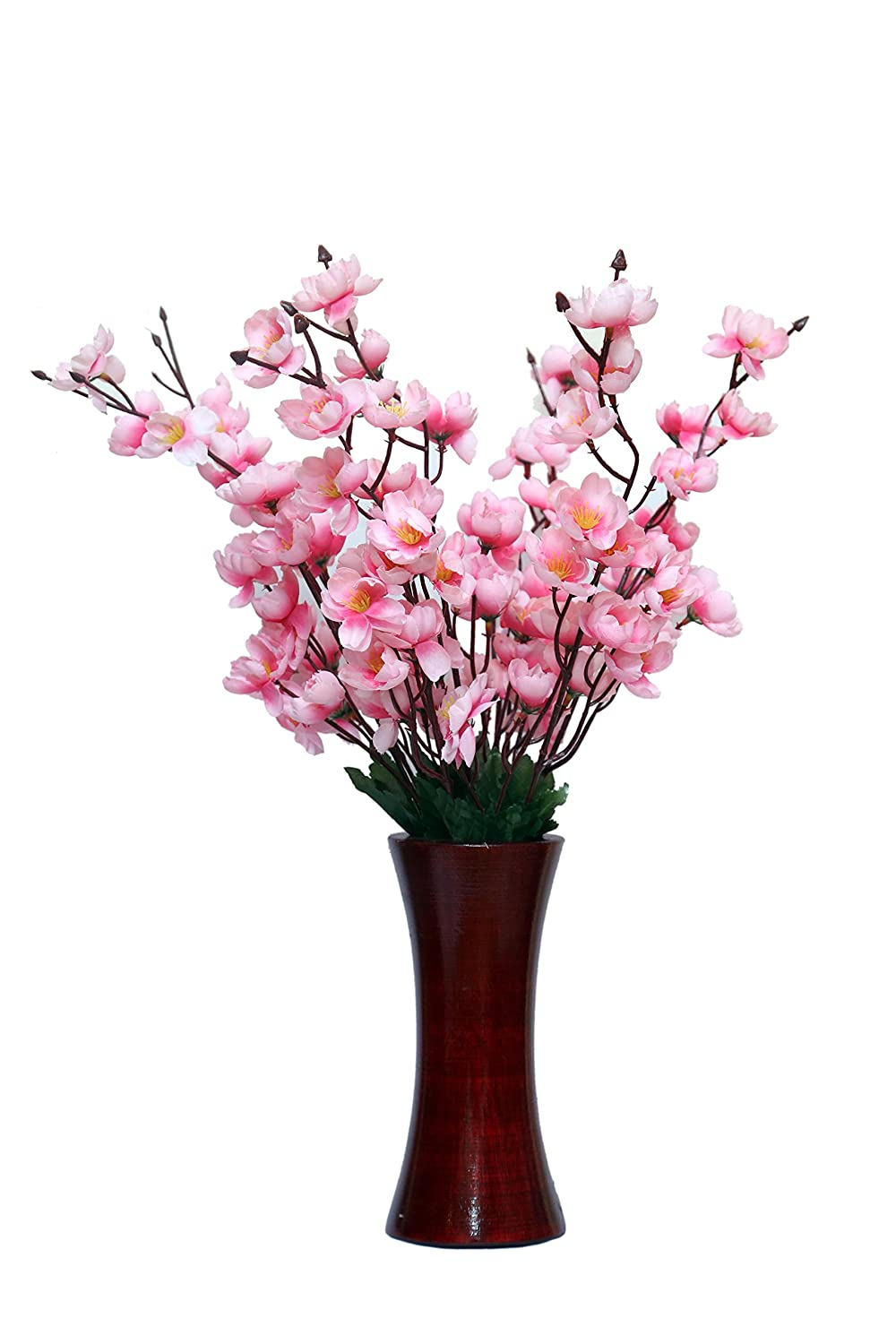 Artificial roses in glass vase free download 6 in h for Artificial flowers for home decoration india