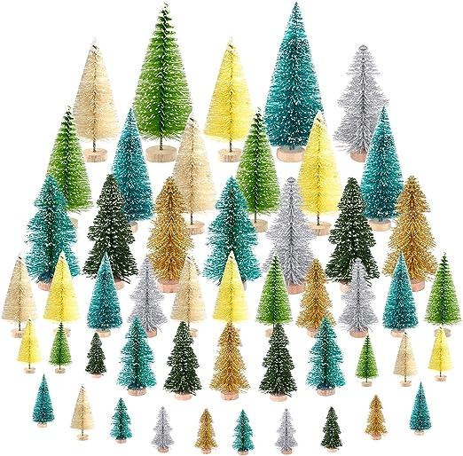 KUUQA 50Pcs Mini Navidad Village Trees Cepillo de Botella Árboles ...