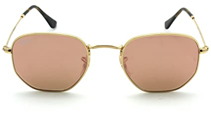 f065ca0d7 Amazon.com: Ray-Ban RB3548N HEXAGONAL FLAT LENSES Mirrored Sunglasses (Gold  Frame/Copper Flash Lens 001/Z2, 51): Clothing