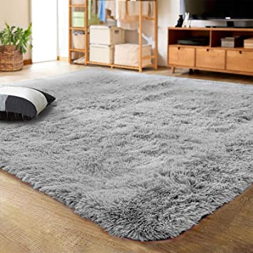 Lochas Ultra Soft Indoor Modern Area Rugs Fluffy Living Room Carpets For Children Bedroom Home Decor Nursery Rug 4x5 3 Feet Gray Furniture Decor