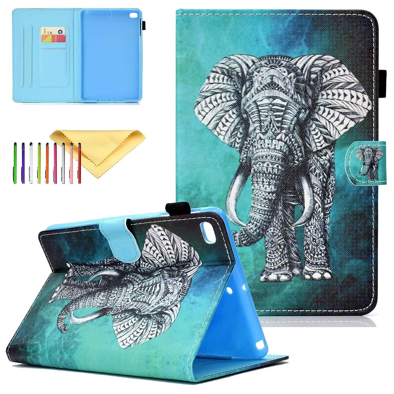 iPad Miniケース キッズ、iPad Mini 2ケース、iPad Mini 3カバー、iPad Mini 4ケース、Cookk軽量キュートパターンケースとカバー キックスタンドウォレット スマートカバー iPad Mini 4/3/2/1用 CK-2018  #04 Elephant B07NVLB2YC