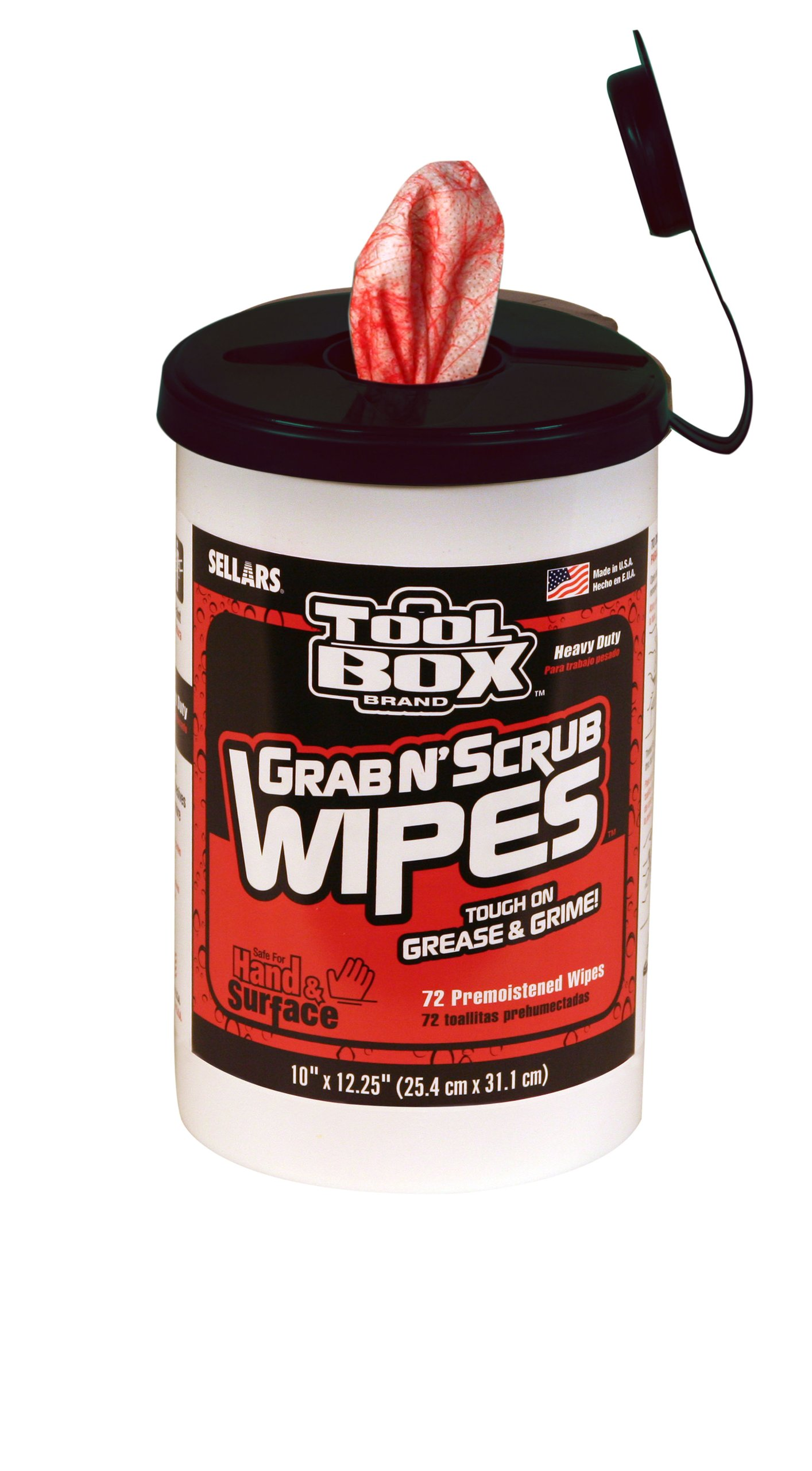 Sellars 90150 ToolBox Grab N' Scrub Wet Wiper, 12-1/4'' Length x 10'' Width, Red/White (6 Buckets of 72 Sheets) by Sellars Wipers & Sorbents