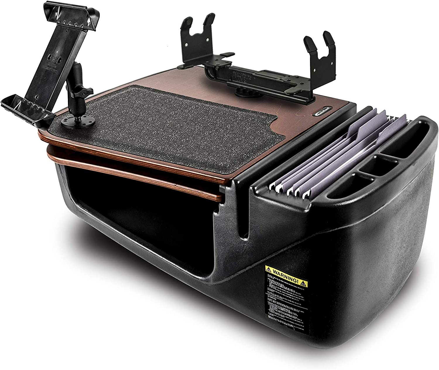 AutoExec AUE15350 GripMaster Car Desk Mahogany Finish with Printer Stand and Tablet Mount
