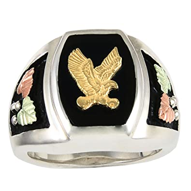 2970c5f274f26 15 X 11 MM Onyx Black Hills Silver Antiqued Mens Eagle Ring|Amazon.com