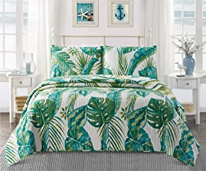 Virah Bella Tropical Leaves Contemporary Bedding Set - Full/Queen Quilt and Standard Shams with Large Plant Print