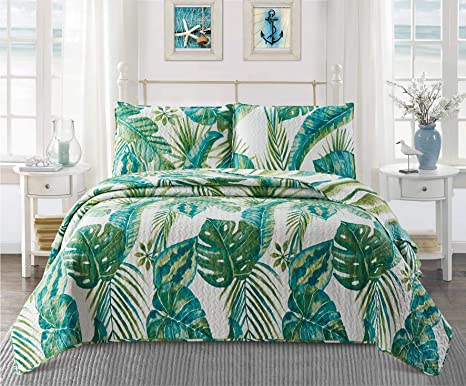 Amazon Com Virah Bella Tropical Leaves Contemporary Bedding Set Full Queen Quilt And Standard Shams With Large Plant Print Kitchen Dining Tropical flowers floral patterns green quilt cover single double queen king size. amazon com