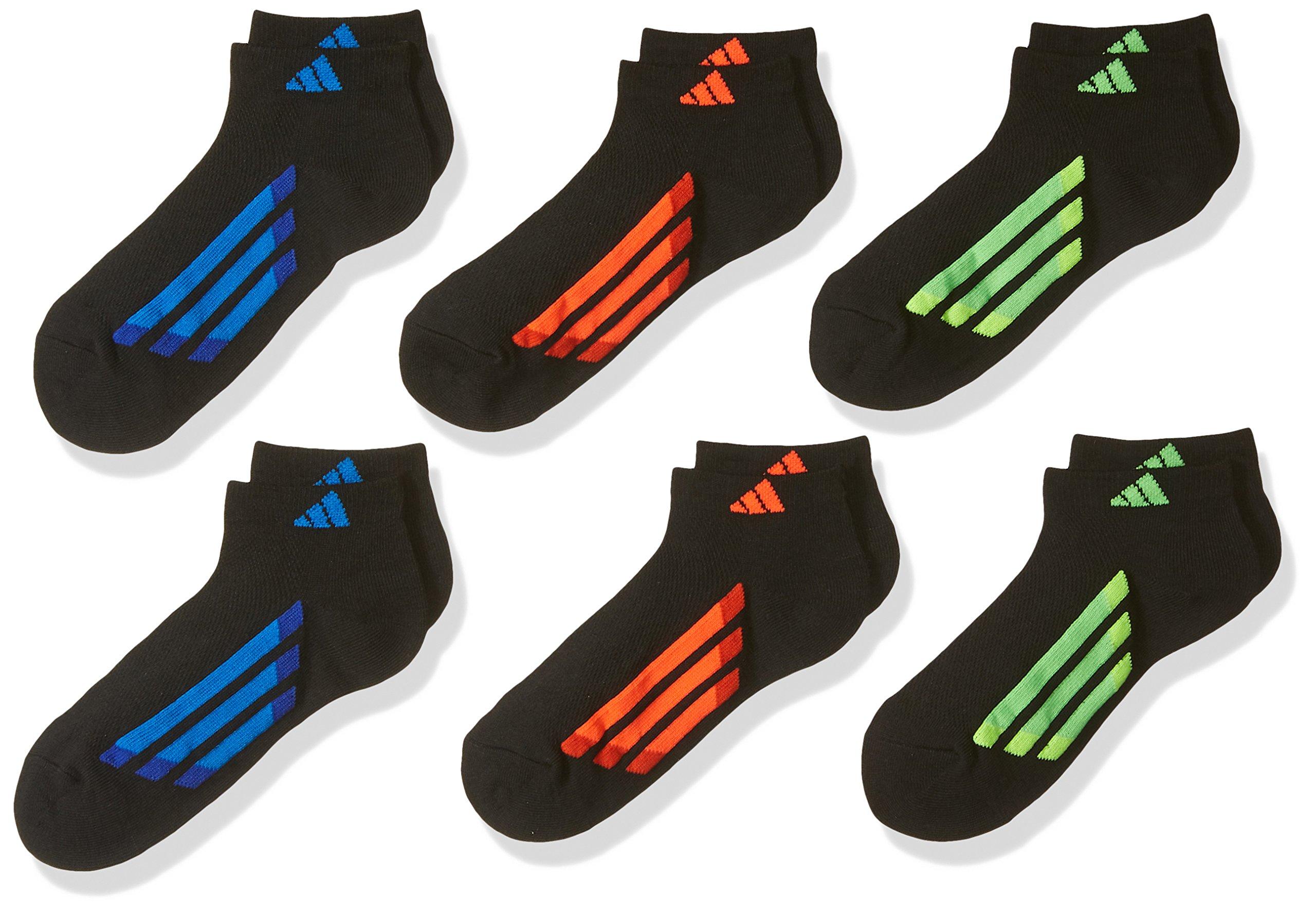 adidas Youth Kids-Boy's/Girl's Cushioned Low Cut Socks (6-Pair), Black/Solar Red/Bold Orange/Solar Green/Solar Yell, Medium, (Shoe Size 13C-4Y) by adidas