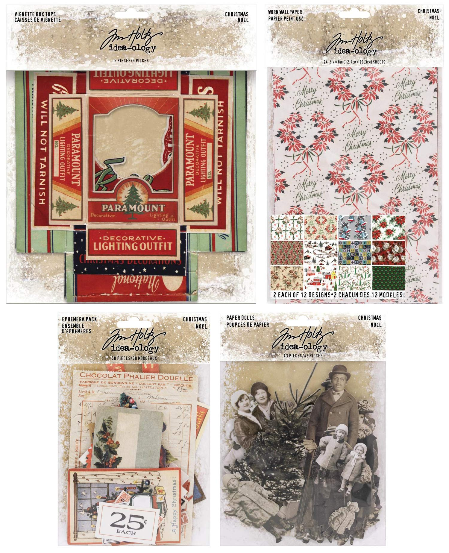 Tim Holtz 2018 Holiday Paperie - Box Tops, Worn Wallpaper, Christmas Paper Dolls and Christmas Ephemera - 4 Items
