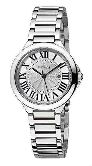 Kronos - Ladies White 998.8.22- Reloj de señora de cuarzo, brazalete de acero, color esfera: plateada: Amazon.es: Relojes