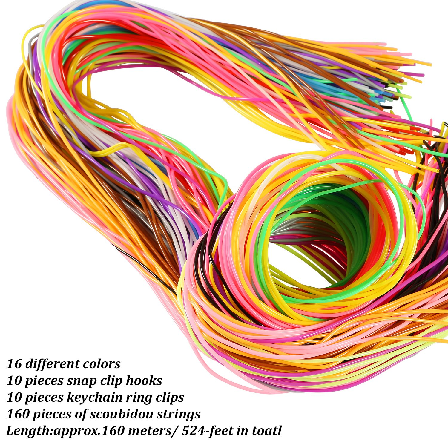 525-Feet,16 Colors Coobey 160 Pieces Scoubidou Strings DIY Craft Gimp String with Snap Clip Hooks Keychain Ring Clips Plastic Lacing Cord for Jewelry Making