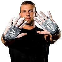 Bear KompleX - Puños de 3 agujeros para manos y gimnasia, ideal para crossfitness, dominadas, levantamiento de pesas, flexiones de barbilla, entrenamiento, ejercicio, kettlebell, más. Protege tus palmas de rasguños. Carbono