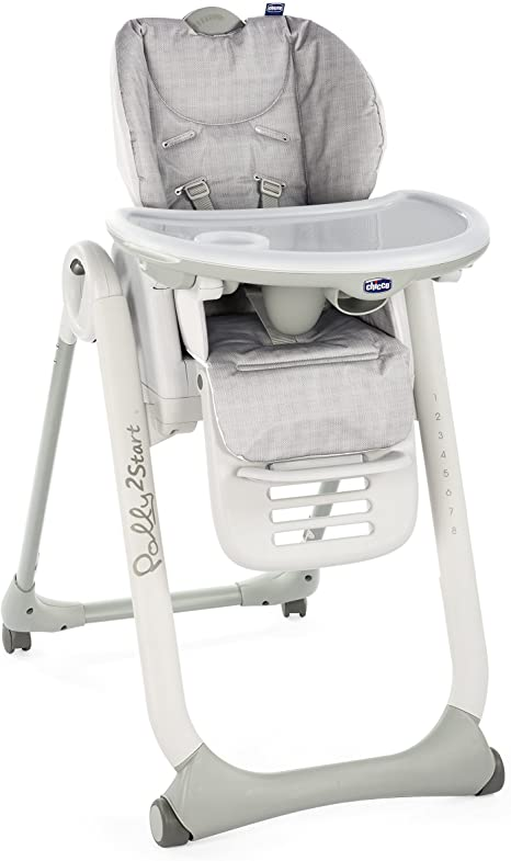 Chicco Polly 2 Start Highchair 4 Wheels (Happy Silver)