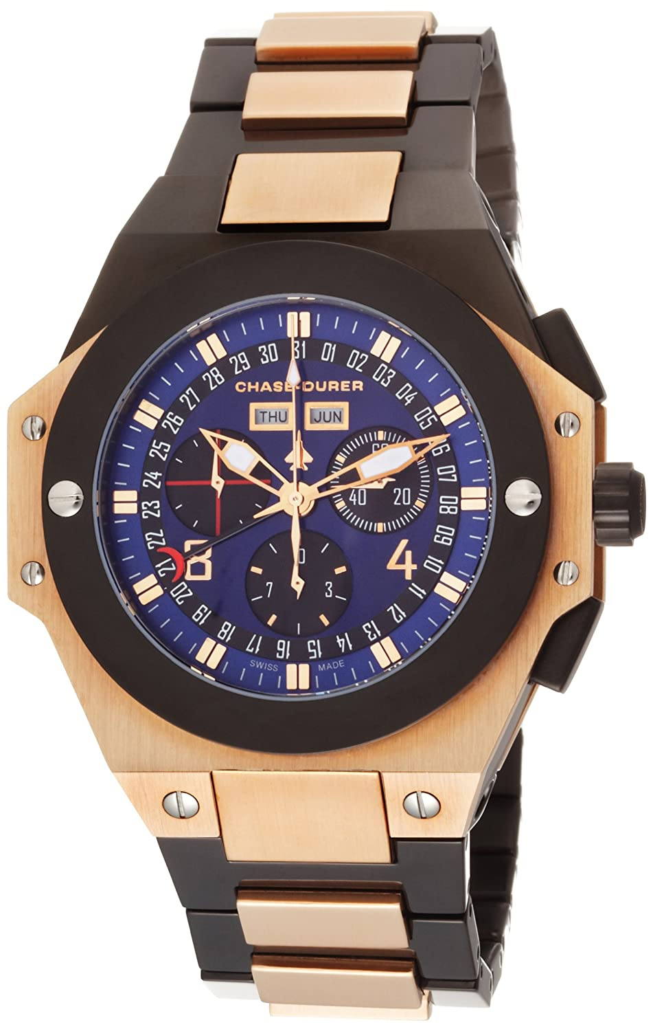 Amazon.com: Chase-Durer Men's 880.84LP-BRA Conquest Chronograph Special  Edition No. 2 18K Rose Gold-Plated Watch: Watches