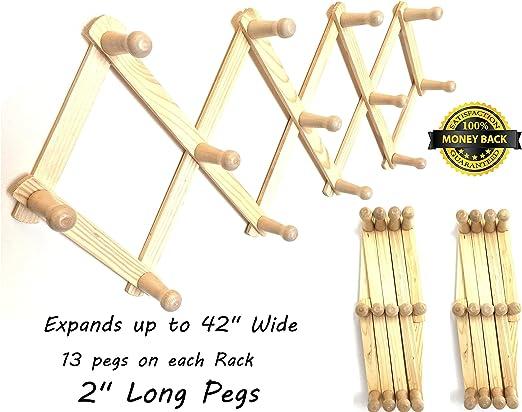 ALAZCO Perchero extensible de madera estilo acordeón, 13 ganchos ...