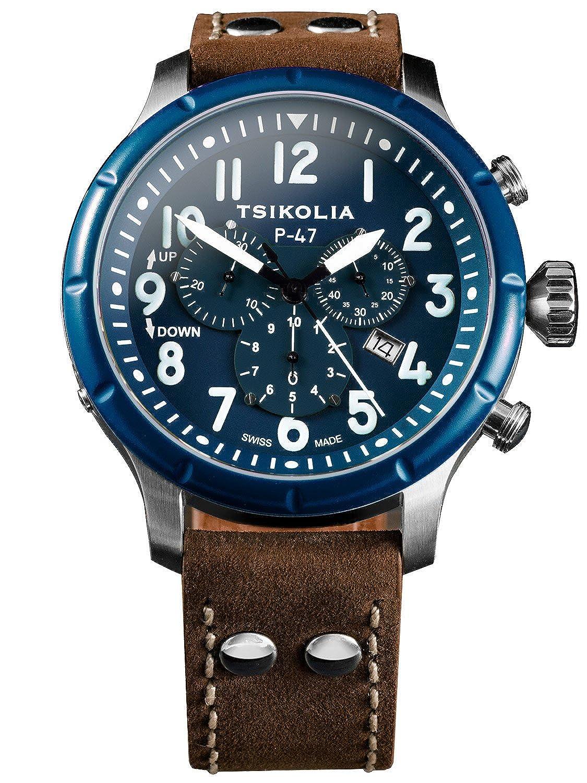 [チコリア] TSIKOLIA P-47 スティール/ネイビーベゼル/ネイビー スイス製 メンズ腕時計 クロノグラフ パイロット/ミリタリーウォッチ ZULUナイロンストラップ付 日本総代理店 [正規輸入品] B06Y6B8D5G