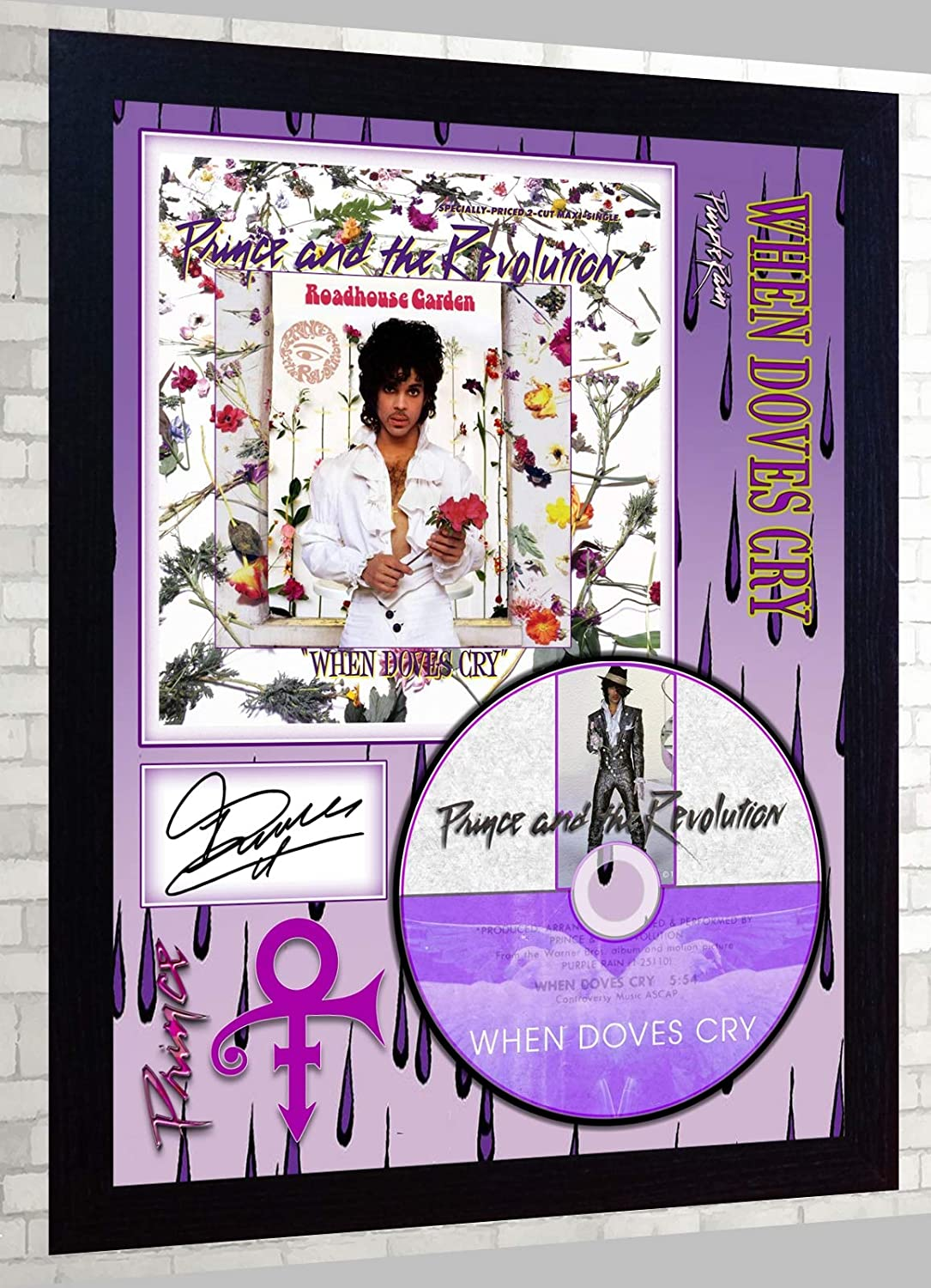 SGH SERVICES Prince Sign/ée encadr/ée Photo Poster dAcheminer CD Disc Lorsque colombes Cry 17/ Jours Purple Rain