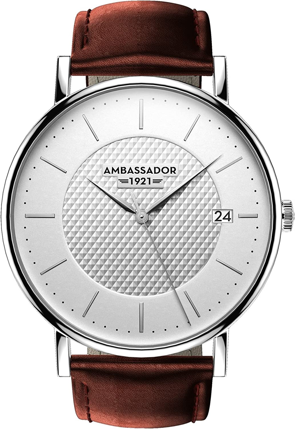 Ambassador Luxury Watch for Men – Heritage 1921 Silver Case with Brown Leather Strap with Swiss Quality