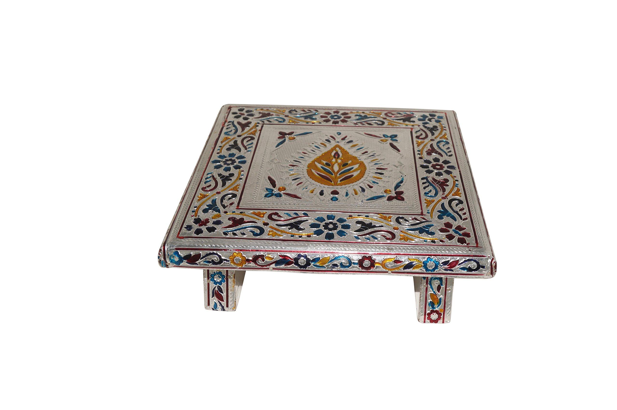 Giri Indian Handmade Minakari Bajot Silver Table (20 mm x 20 mm x 5.5 mm, White)