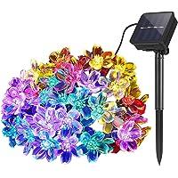 Lichtsnoer op zonne-energie, voor buiten, 7 m, 50 leds, bloemen, waterdicht, solar power-lichtketting, decoratief…