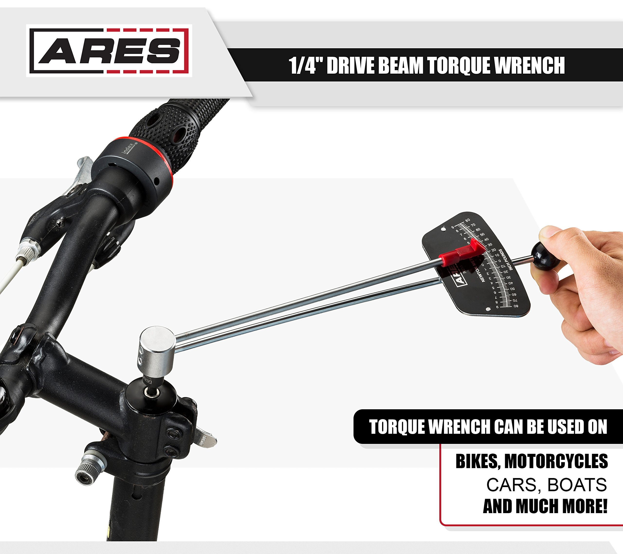 ARES 70213 | 1/4-inch Drive Beam Torque Wrench | 0-80 in/lb and 0-9 Newton Meter Torque Wrench | High Visibility Markings for Easy Readings by ARES (Image #6)