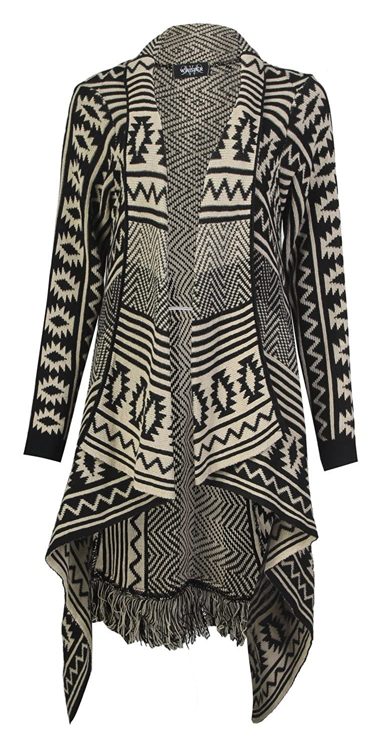Forever Womens Aztec Tribal Stripe Diamond Print Frill Knitted Waterfall Cardigan
