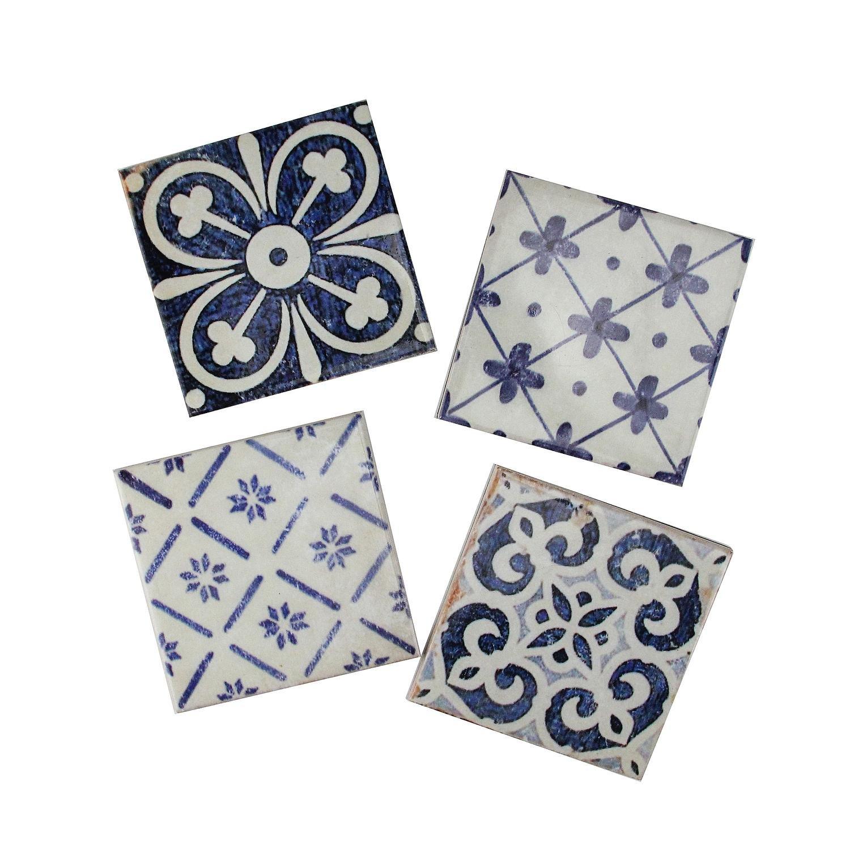 パックの4装飾パターン化ブルーとクリームのセラミックスクエアコースター4