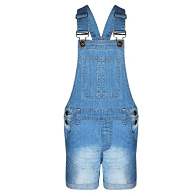 New in Stylish Summer Girls Denim Dungaree Shorts Jumpsuit Ages 7-13